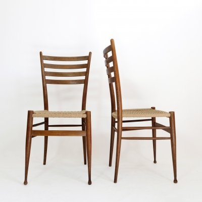 Pair of Italian chairs in wood & rope, 1950s