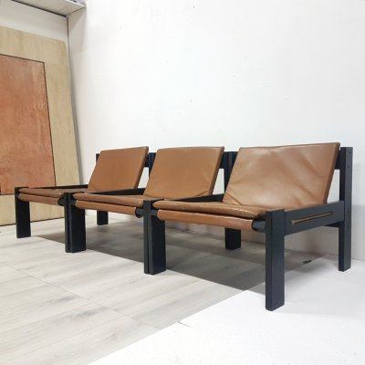 Mid century minimalist lounge chairs with leather cushions, Netherlands 1960s