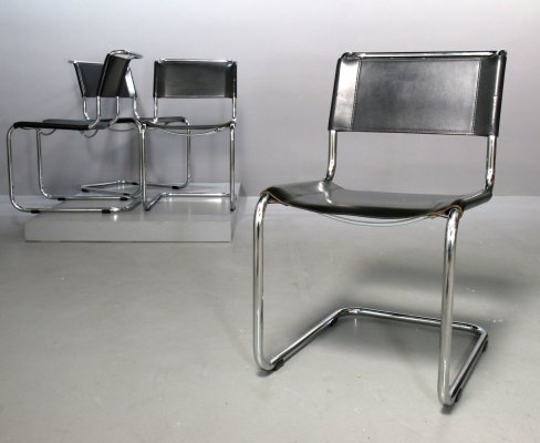 4 x Cantilever S33 Chair with Leather Cushion by Mart Stam for Thonet, 1980s