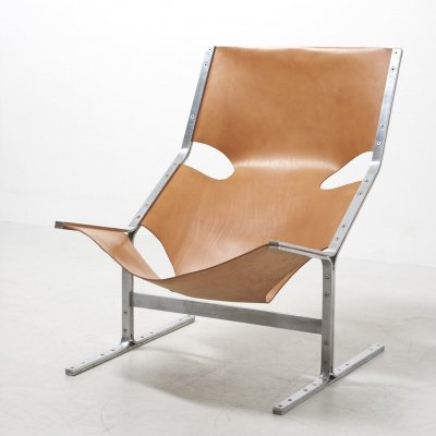 Rare Lounge Chair in Leather by Pierre Thielen, Netherlands 1960's