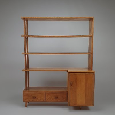 Mid Century Oak Modernist Wall Unit, 1960s