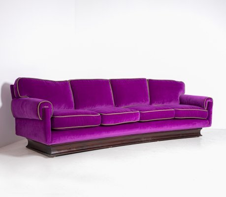 Italian Sofa by Cassina in purple Velvet & green, 1950s