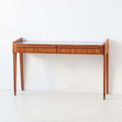 1950s modern mahogany console table with blue glass top