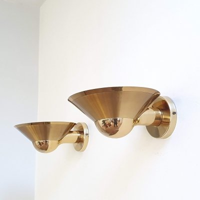 Pair brass wall scones by Lustrerie Deknudt, Belgium 70s