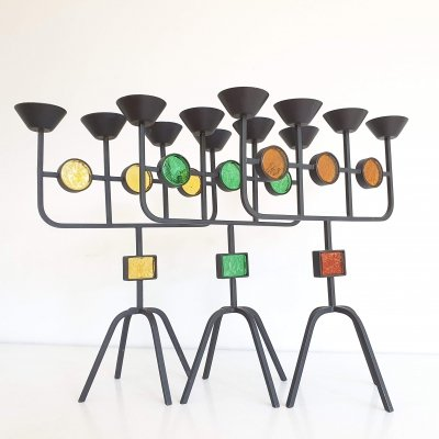 Set of 3 Gunnar Ander Candelabras, 1950s