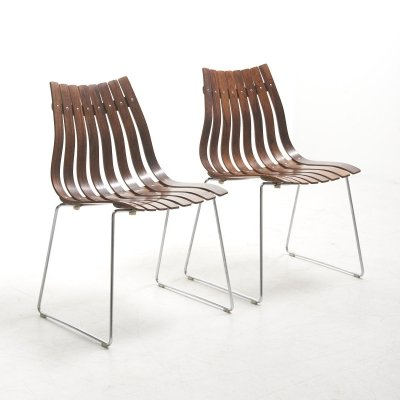 Pair of Slatted Dining Chairs by Hans Brattrud for Hove Møbler, Norway 1960's