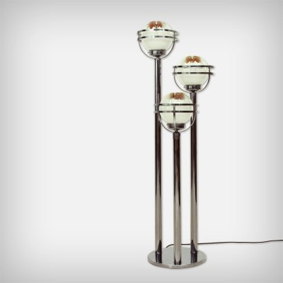 Italian Murano Glass & Chrome Floor Lamp by Mazzega, 1970s