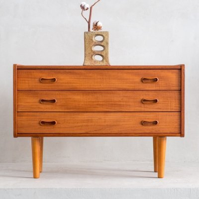 Danish teak chest of 3 drawers, 1960s