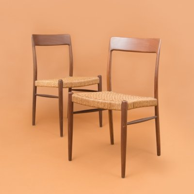 Pair of chairs in teak & rope, 1950s