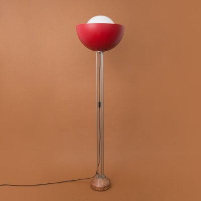 Postmodern floor lamp with perspex sphere & marble base, 1980s