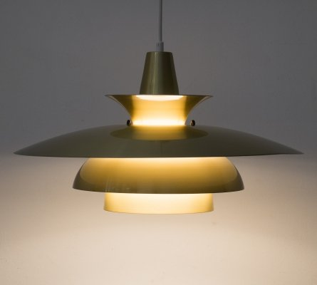 Gold pendant lamp by Roma of Junge, Denmark 1980s