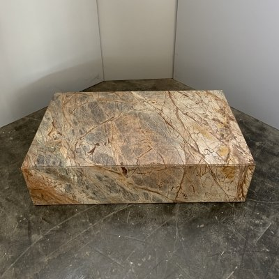 Italian Forest Green marble coffee table with wheels, Carrara Italy 1990s