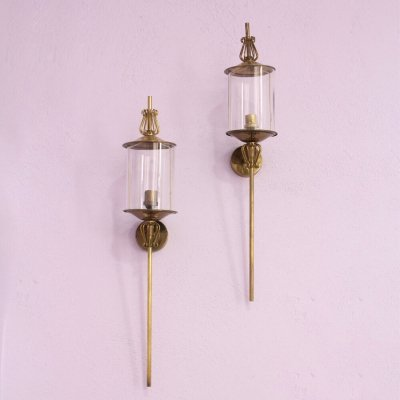 Pair of brass & glass torchieres by Maison Arlus, 1960s