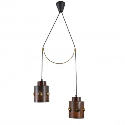 Dual pendant light in copper & glass, 1960s