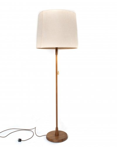 Temde Floor Lamp in Teak & Fabric, Germany 1970s