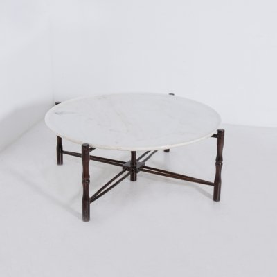 Italian coffee table by Giuseppe Scapinelli in wood & marble, 1950s