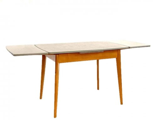 Extendable formica kitchen table with birch frame, 1960s