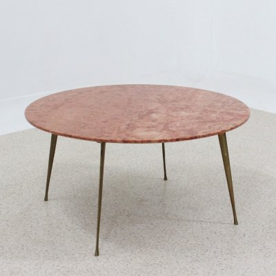 Vintage pink marble round coffee table, 1950s