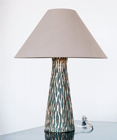 Table lamp in glazed gold & green ceramic by Bitossi Ceramiche, Italy