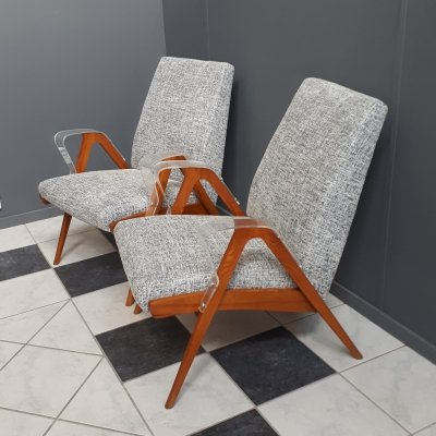 Pair of rare Tatra chairs with perspex armrests, Czech 1960s