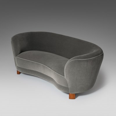 Curved Danish Banana Sofa in Mohair Velvet