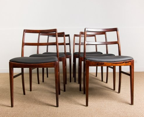 Set of 6 Danish Rosewood Chairs N° 420 by Arne Vodder for Sibast, 1960s