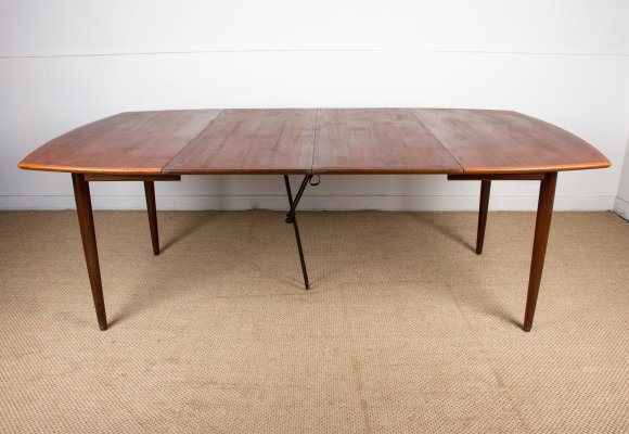 Extra large Square Danish Teak Extendable Dining Table by H. W. Klein, 1960s