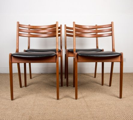 Danish Teak & Leatherette Chairs by Henning Kjærnulf for Korup Stolefabrik, 1960