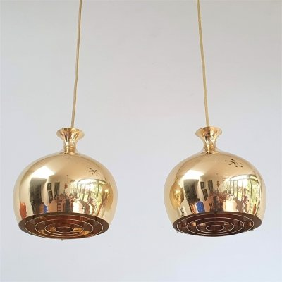 Pair Helge Zimdal brass 'Onion' Pendants for Falkenbergs Belysning