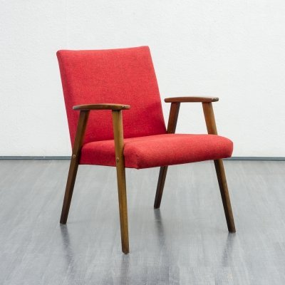 1950s solid wooden chair in red