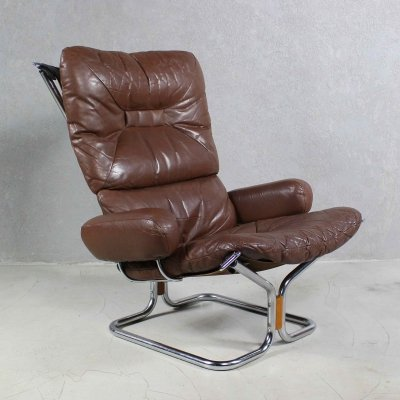 Leather And Rosewood Lounge Chair by Harald Relling for Westnofa, 1970s