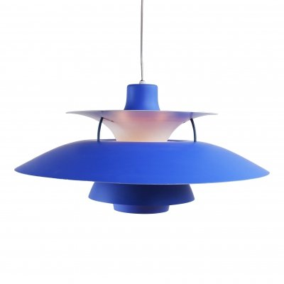 Louis Poulsen blue PH5 pendant designed by Poul Henningsen