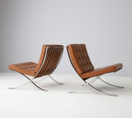 Pair of cognac leather Barcelona chairs by Mies van der Rohe for Knoll, 1991