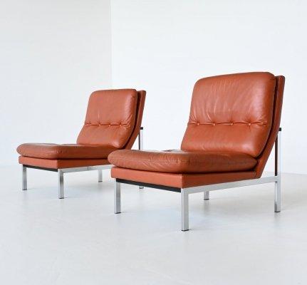 Cognac leather pair of lounge chairs, Belgium 1960