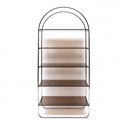 Midcentury Modern chrome etagere with smoked glass shelves, 1970s