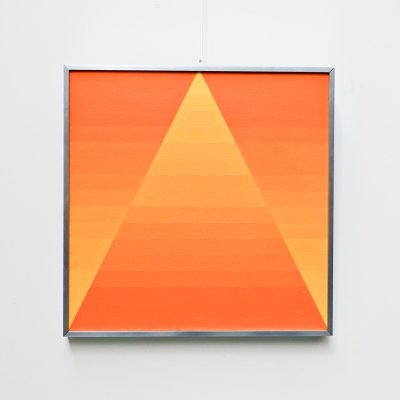 Georges Vaxelaire oil on canvas 'composition géométrique orange', 1970s