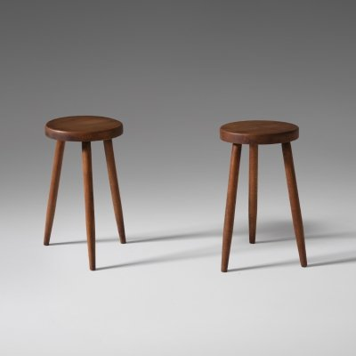 Pair of Oak stools with High Tapered legs