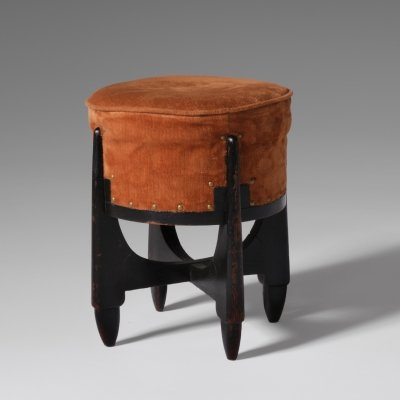 Art Deco stool in Stained Oak, 1920s