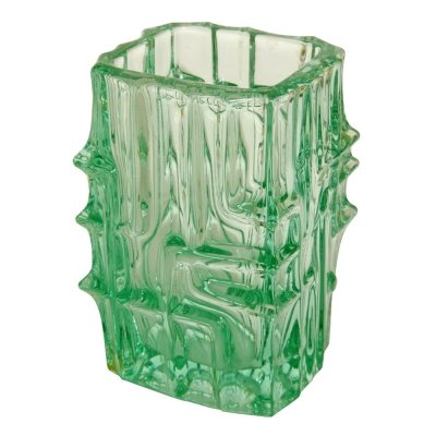 Light green glass vase by Vladislav Urban for Sklo Union Rosice, Czechoslovakia