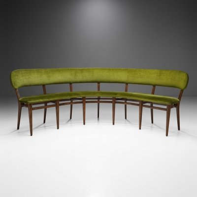 Danish Cabinetmaker Curved Bench in Beech, Denmark 1950s
