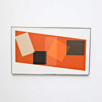 Georges Vaxelaire oil on canvas 'composition géométrique', 1974