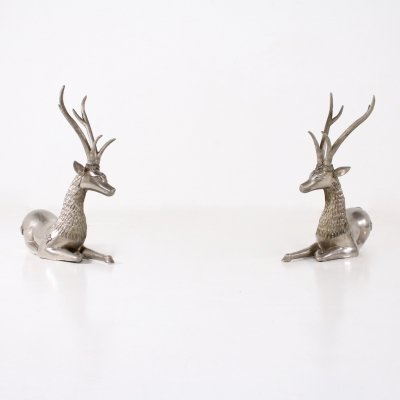 Pair of Buddhist temple deers in alloy imitating silver metal, 1970's
