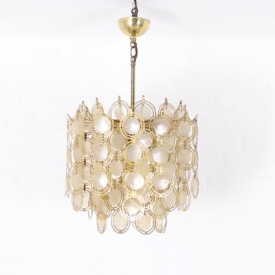 Mother-of-pearl & brass chandelier, 1970's