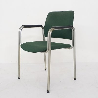 Tubular arm chair in green fabric by Kho Liang Ie for CAR Katwijk, The Netherlands 1960's