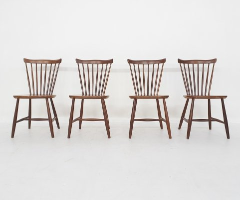 Set of 4 teak spindle back chairs by Yngve Ekstrom for Nesto, 1950's