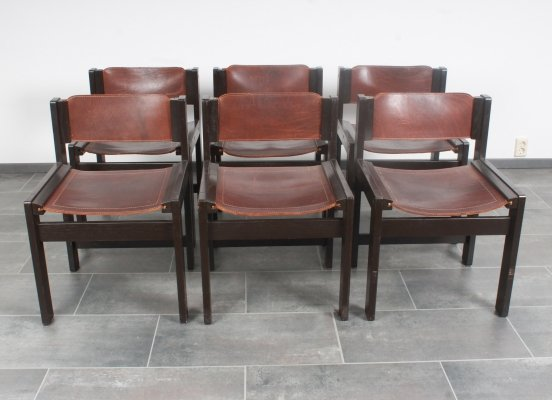 Set of 6 Spanish style dinner chairs in solid ash & saddle leather, 1970s