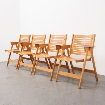 Niko Kralj set of 4 Rex Folding Chairs for Stol, Kamnik Slovenia 1952
