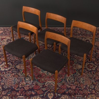 Set of 5 'model 77' dining chairs by Niels O. Møller, 1950s