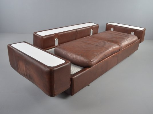 Brown leather model 711 sofa/daybed by Tito Agnoli for Cinova, 1968