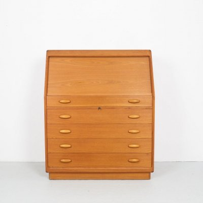 Vintage teak tambour secretaire with mirror by Dyrlund, 1960's